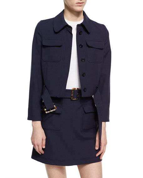 Alexa Chung Cropped Patch Pocket Jacket, Navy