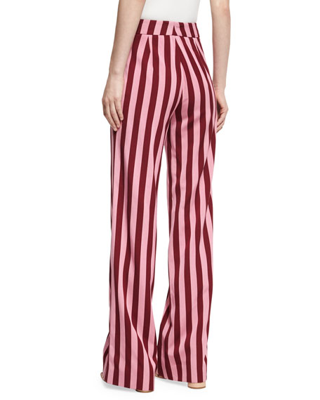 Striped High-Waist Trousers, Red Pattern
