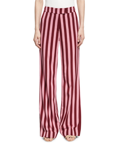 Alexa Chung Striped High-Waist Trousers, Red Pattern