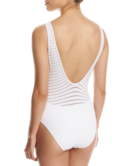 Parallels Plunge V-Neck One-Piece Swimsuit, White