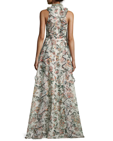 Sophie Floral-Print Ruffle Gown