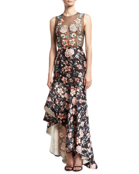Roxie Floral Point d'Esprit & Satin High-Low Gown, Jet