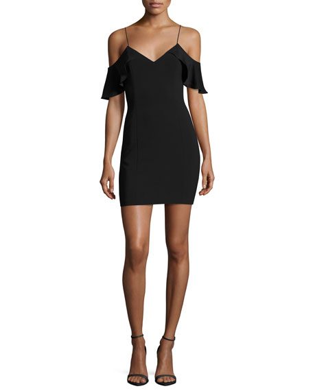 Luther Silk-Trim Cold-Shoulder Mini Cocktail Dress, Black
