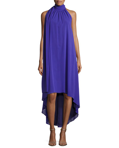 Trina Turk Panoramic Sleeveless Silk Georgette High-Low Dress