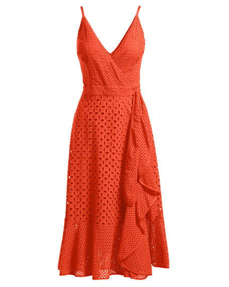 Kacie Sleeveless Cotton Eyelet Wrap Dress