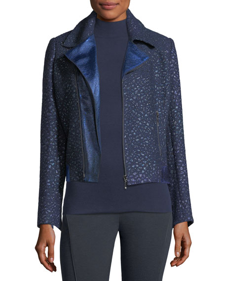 Elie Tahari Mae Mixed-Media Moto Jacket and Matching