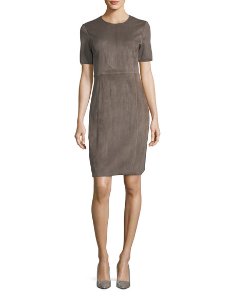Elie Tahari Emily Short-Sleeve Suede Sheath Dress