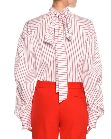 MSGM Striped Long-Sleeve Tieback Blouse, Red/White