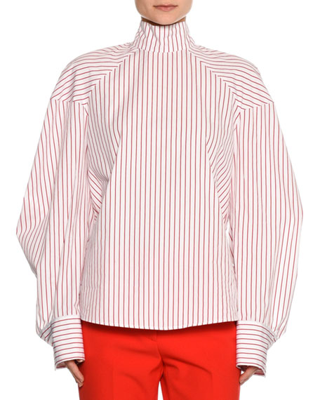 Striped Long-Sleeve Tieback Blouse, Red/White