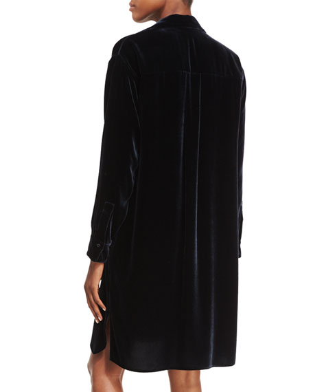 Long-Sleeve Velvet Shirtdress