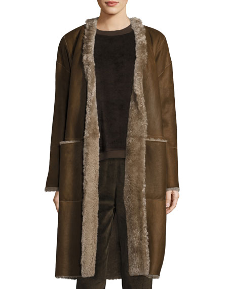 Vince Reversible Elongated Reversible Shearling Coat and Matching
