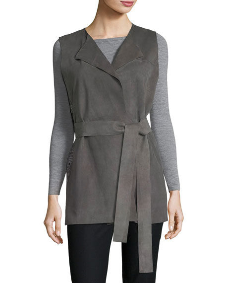 Lafayette 148 New York Tamma Suede Vest W/ Embroidered