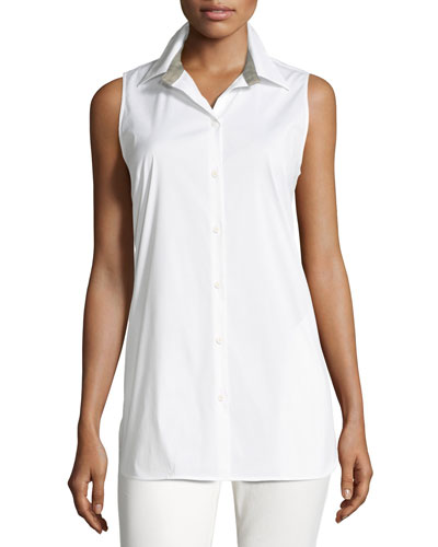 Jenice Sleeveless Button-Front Stretch-Cotton Blouse