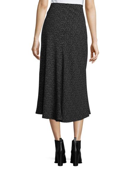 Celestial Polka-Dot Tie-Front Midi Skirt, Black Multi