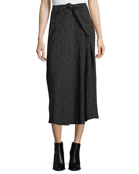 Vince Celestial Polka-Dot Tie-Front Midi Skirt, Black Multi