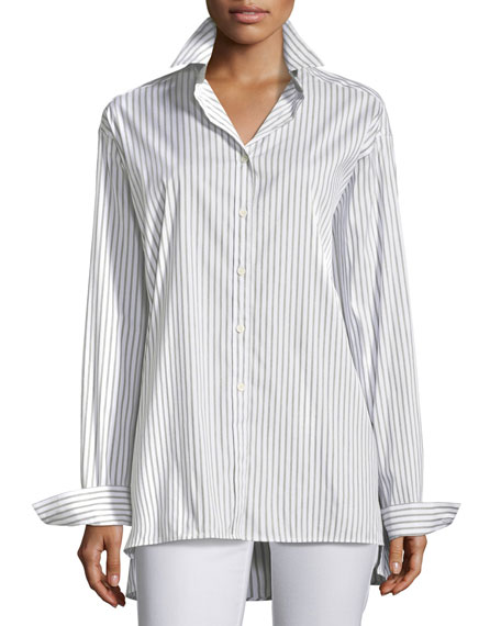 Lafayette 148 New York Supreme Stripe Jessie Button-Front