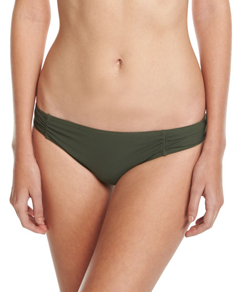 Side-Shirred Bikini Bottom, Green