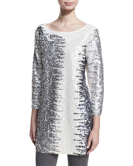 Joan Vass Petite Sequined Boat-Neck 3/4 Sleeve Tunic