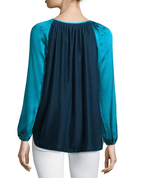 Mariella Colorblocked Silk & Velvet Blouse