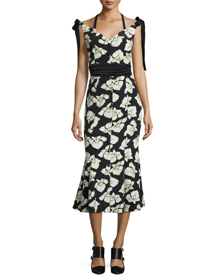 Blakely Floral-Print Mermaid Midi Dress, Black Multi