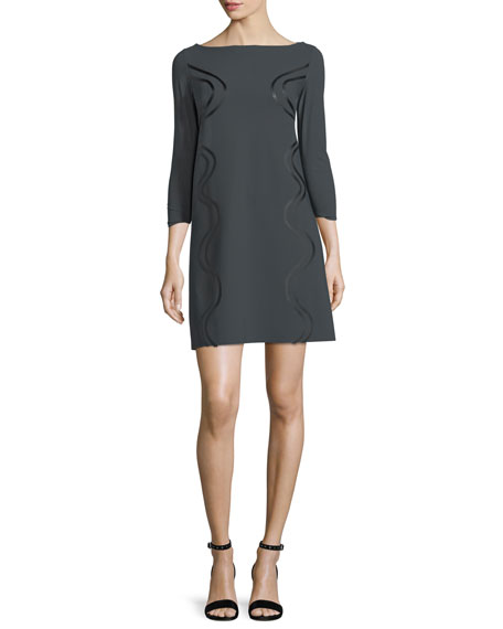 Elfrida Boat-Neck 3/4 Sleeves Dress w/ Faux-Leather Trim