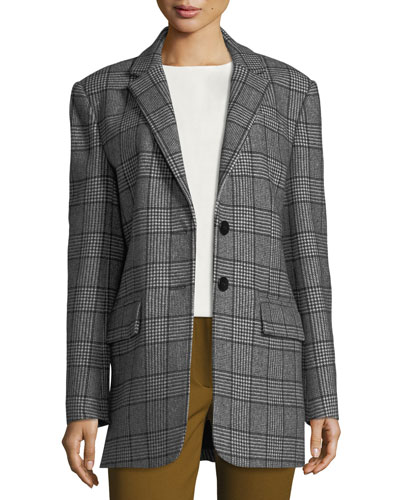 Aldridge Two-Button Plaid Tweed Blazer