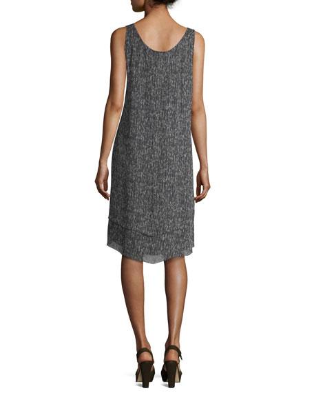 Sleeveless Crinkle Silk Shift Dress
