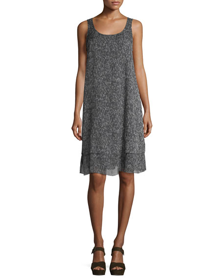 Eileen Fisher Sleeveless Crinkle Silk Shift Dress