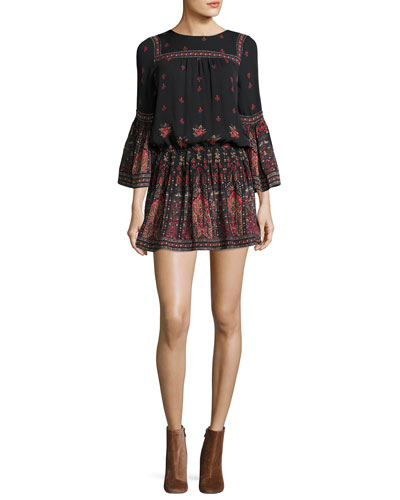 Armel Floral-Print Long-Sleeve Dress, Black