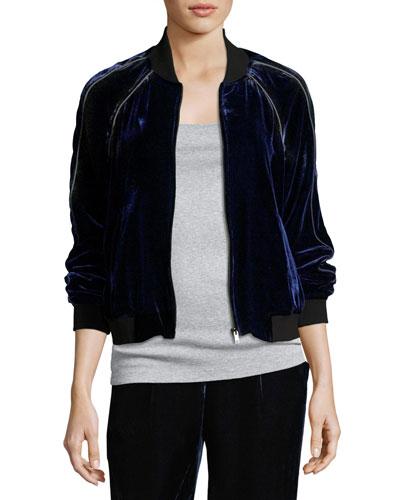 Mace B Velvet Bomber Jacket, Blue