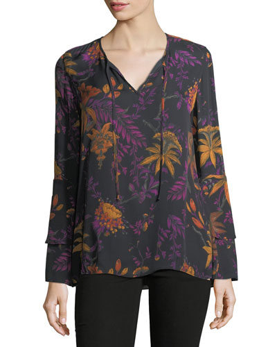 Blake Long-Sleeve Floral-Print Blouse