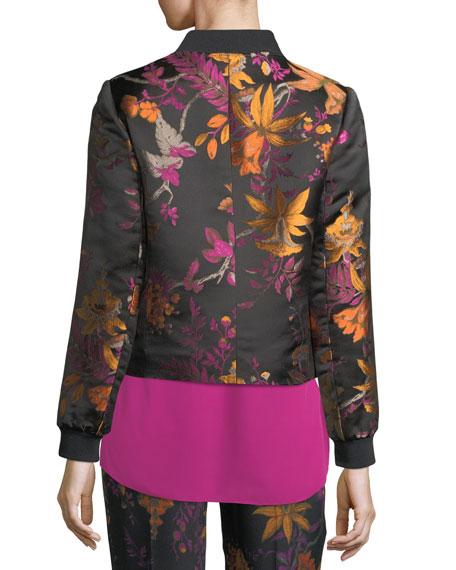 Laicey Floral-Print Silk Bomber Jacket