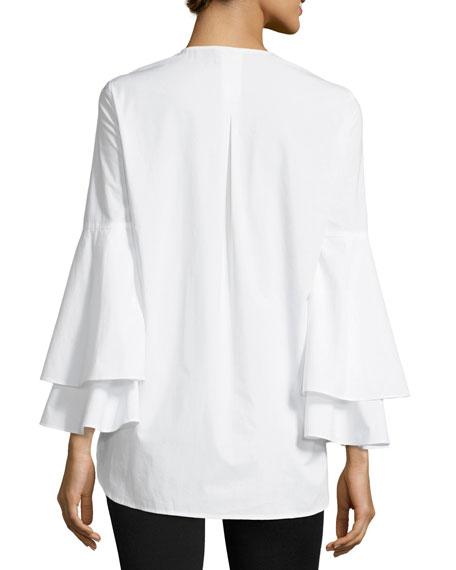 Lianna Layered Bell-Sleeve Cotton Blouse