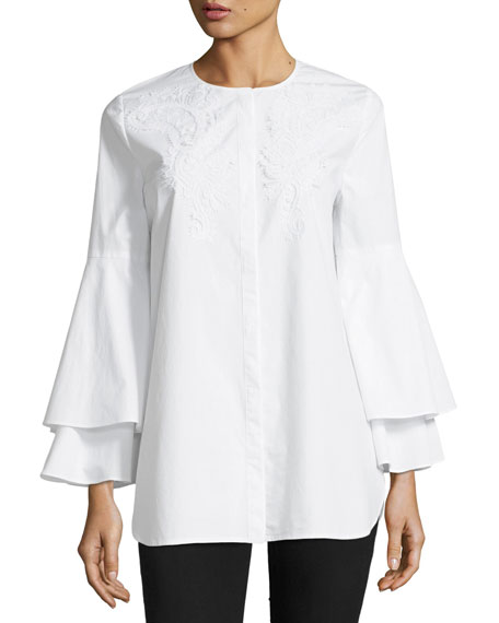 Kobi Halperin x Erte Lianna Layered Bell-Sleeve Cotton