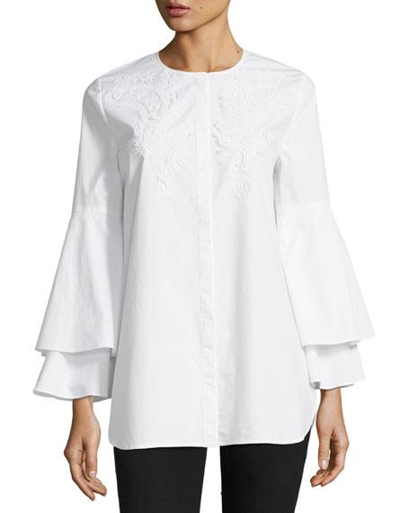 Kobi Halperin x Erte Lianna Layered Bell-Sleeve Cotton