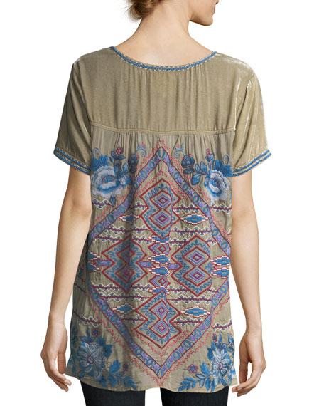 Dexter Velvet & Embroidered Georgette Tee, Plus Size