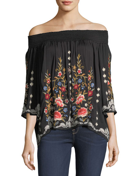 Harlith Embroidered Off-the-Shoulder Top, Plus Size