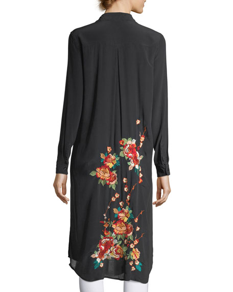 Johnny Was Cherry Floral Embroidered Long Tunic, Blue,