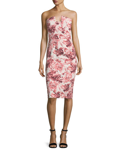 Lena Floral-Printed Strapless Cocktail Sheath Dress