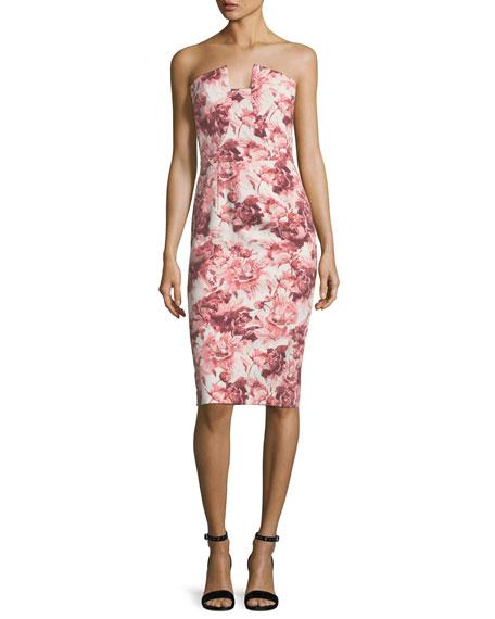 Lena Floral-Printed Strapless Cocktail Sheath Dress