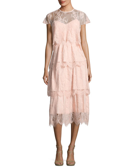 Parker Elsa Tiered Lace Midi Dress, Blush
