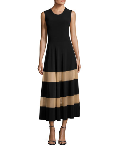 Spliced Flared Cocktail Midi Dress w/ Sheer Inserts