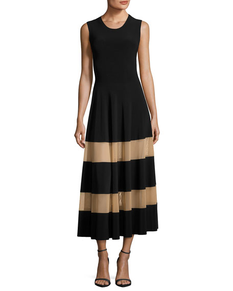 Norma Kamali Spliced Flared Cocktail Midi Dress w/