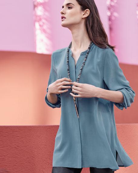 Long-Sleeve Silk Crepe de Chine Boyfriend Shirt, Plus Size
