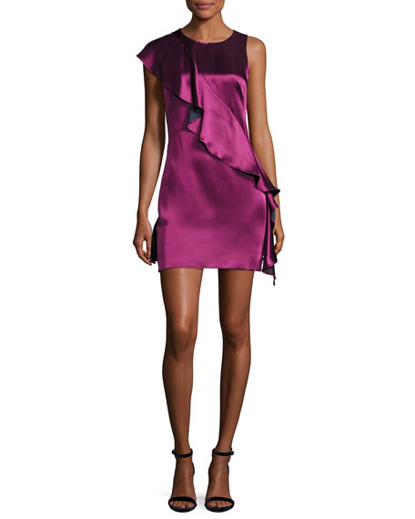 Diane von Furstenberg Sleeveless Crossover-Ruffle Satin Cocktail
