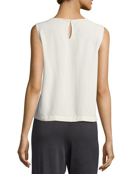 Sleeveless Short Silk Georgette Shell, Plus Size