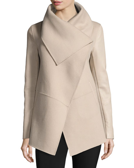 Mackage Vane Waterfall Collar Wool-Blend Coat