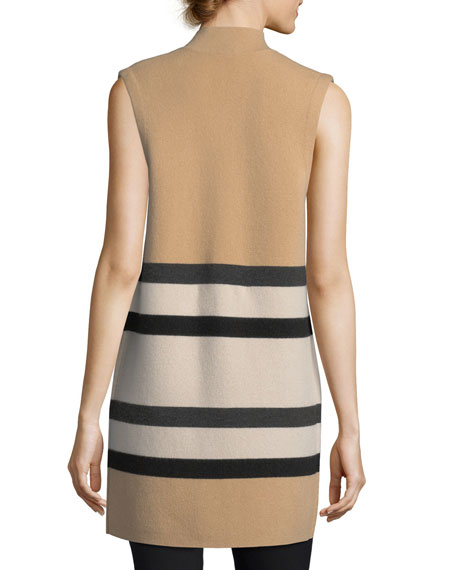 Double-Knit Striped Cashmere Vest