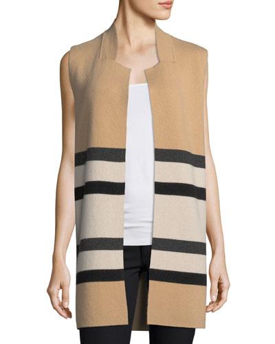 Double-Knit Striped Cashmere Vest