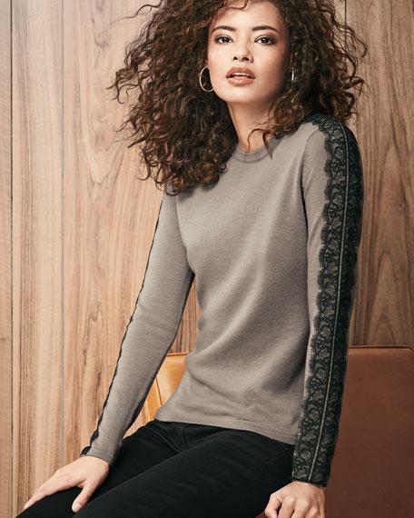 Lace-Trimmed Crewneck Cashmere Sweater